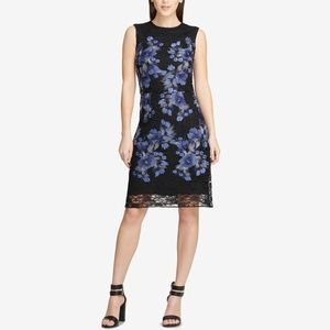 Black Floral Embroidered Lace Sleeveless Dress